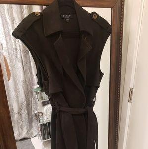 Black suede duster vest